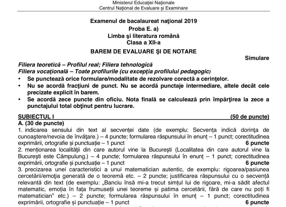 Simulare Clasa A 8 A 2019 Romana Update: Barem Clasa 12 Simulare Limba Romana