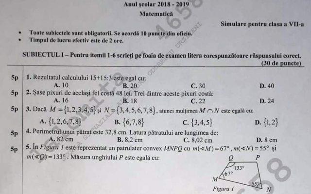 Simulare Clasa A 8 A 2019 Matematica: Subiecte Simulare Matematică Clasa A VII-a: Subiectele