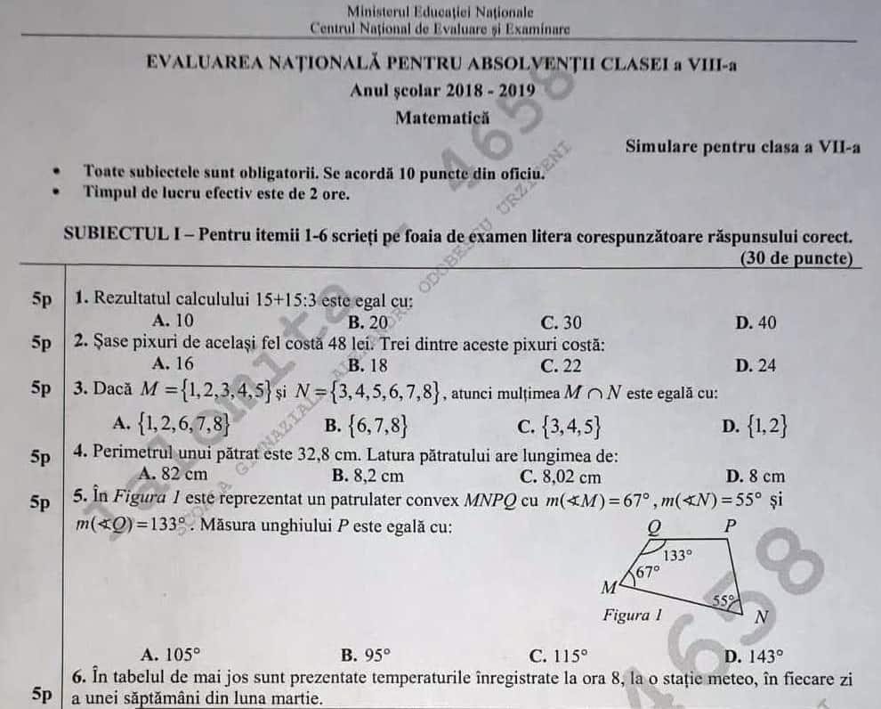 Barem Simulare Romana 2019 Detail: Subiecte Simulare Clasa A 7a Matematica