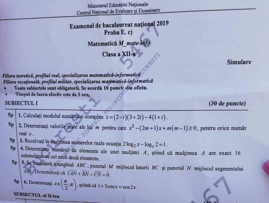 Simulare Clasa A 8 A 2019 Matematica: Subiecte Simulare Matematica Clasa 12 2019