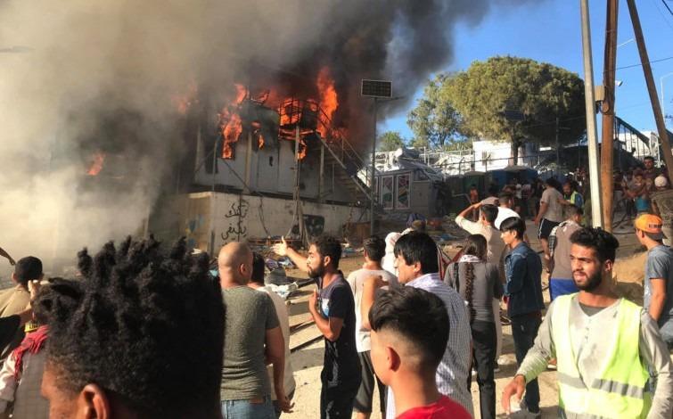incendiu moria tabara de refugiati grecia
