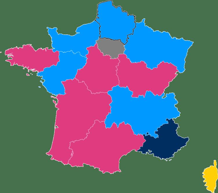 Harta rezultatelor alegerilor regionale din Franța