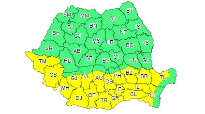 Cod galben de caniculă în tot sudul României, temperaturi de 38 de grade